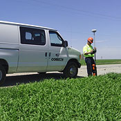 photo of Corevac crew performing GNSS satellite mapping